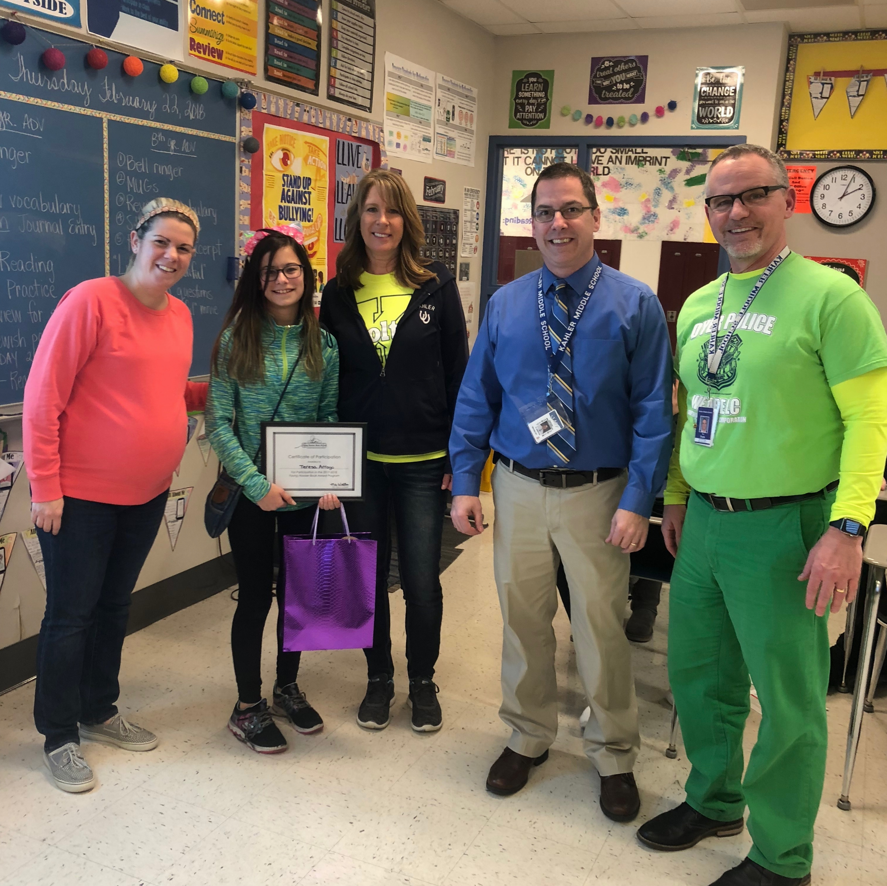 Teresa Arroyo is the first student to read all 20 Young Hoosier books! That's quite an accomplishment! She received a certificate of participation and a gift bag filled with fun prizes!